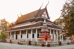 Early morning in Angkor Wat. Colorful buddhism temple at sunrise. Siem Reap, Stock Photos