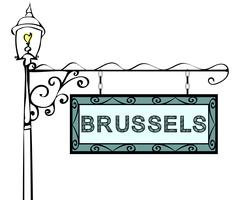 Brussels retro vintage lamppost pointer Stock Illustration