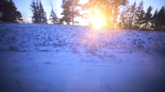 View from the railroad window. Russia. Winter sunrise. Trees, fields, forests. Stock Footage