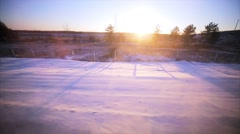 View from the railroad window. Russia. Sunrise. Winter landscape. Stock Footage