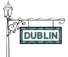 Dublin retro vintage lamppost pointer Stock Illustration