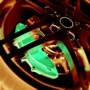 Car wheel close-up view with focus and photo negative effects. 3d illustration - stock illustration