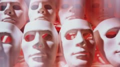 Dolly-shot sad face masks Stock Footage