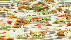 Food served on the table Stock Footage