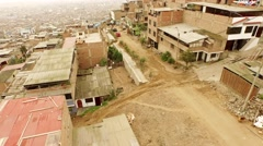 Slums: Aerial in Lima, Peru, South America - stock footage