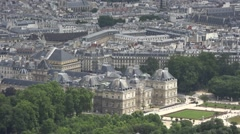 Saint Sulpice Church Pan To Luxembourg Palace, Paris Aerial Shot Stock Footage