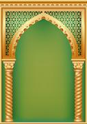 Cover with the Arab arch - stock illustration
