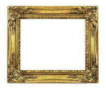 Retro Revival Old Gold Picture Frame Stock Photos