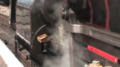 Steam train starting off and smoke comes out Stock Footage