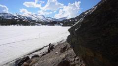 Ellery Lake near Tioga Pass California USA Dolly Shot Stock Footage