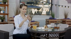 Woman hands taking food photo by mobile phone. Food photography. Delicious Stock Footage