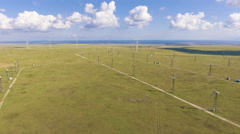 Aerial view from drone on the wind turbine Stock Footage