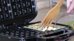 Belgian Waffles Ready For Breakfast. Slow Motion. Stock Footage