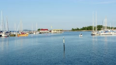 Time-lapse of boats leaving and coming in to south harbour, Hanko, Finland Stock Footage