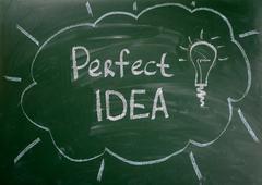 Perfect idea - the inscription chalk on the Board. Good idea Stock Photos
