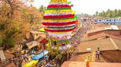 Large Chariot Moving Towards At Annual Shivarathri Festival in Gokarna, India Stock Footage