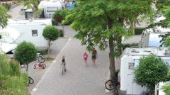 People walking in a camping Stock Footage