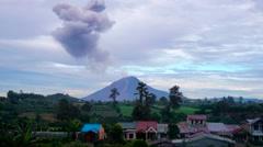 Timelapse Sinubung volcano eruption at sunrise, North Sumatra, Indonesia - stock footage
