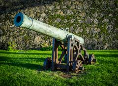 Old cannon in front of the fort in Ponta Delgada, Sao Miguel, Azores, Portugal - stock photo
