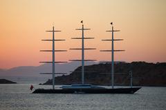 Maltese Falcon sailing yacht anchored near Westin Astir hotel, Athens, Greece Stock Photos