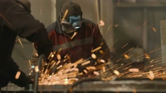 Grinding Heavy Industry Factory Worker Stock Footage