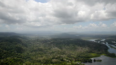 Aerial view of tropical rainforest on the shore of Gatun Lake Stock Footage