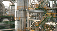 Chemical pipe line in process area at Petroleum and chemical plant Stock Footage