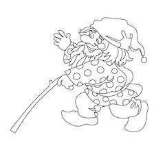 Image of gnome with branch - stock illustration