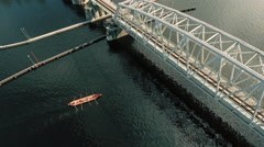 Aerial Shot of Rowing Team Exercising in Bright Summer Day. Stock Footage