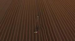 Flight over combaines harvesters threshing wheat Stock Footage