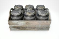 Whiskey Jars In A Crate - stock illustration