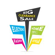 Big clearance sale in electronics, home, fashion and footwear category Stock Illustration