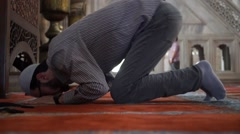 Man prayer worship in mosque Stock Footage