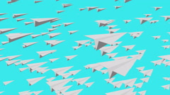 Many Paper Airplanes flying over blue sky, hope and freedom concept background. Stock Footage