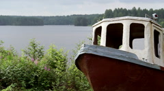 Panorama of the river ,old boat. Stock Footage