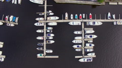 Aerial view of marina full yachts and boats Stock Footage