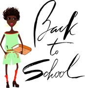 Beautiful African American girl with book. Handwritten lettering. Back to school - stock illustration