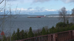 Shipping Boat leaving Port of Seattle Stock Footage