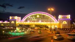 4K: Day to night traffic at Hua Lamphong train station in Bangkok, Thailand Stock Footage