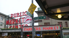 Pike Street Farmer's Market Center Stock Footage