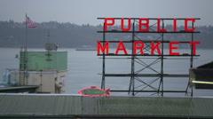 Public Market Sign Overlooking Port Stock Footage