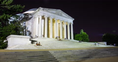 4K Hyperlapse of the Thomas Jefferson Memorial in Washington DC at night Stock Footage