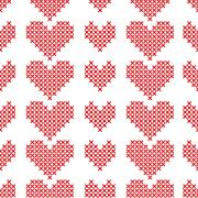 Seamless pattern with cross-stitch hearts on white background Stock Illustration