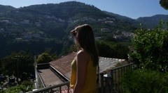 Woman at Balcony in Ravello, Italy (in Slow Motion) Stock Footage
