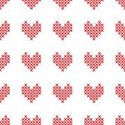 Seamless pattern with cross-stitch hearts on white Stock Illustration