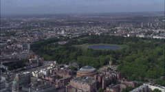 Looking West To Kensington Over Hyde Park And Albert Hall Stock Footage