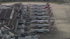 Ba Jets On Stand At Terminal Four Stock Footage
