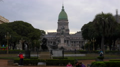Wide shot of Argentinian Congress at dusk Stock Footage