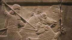 Ancient Assyrian carving in the British Museum - stock photo