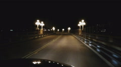 Driving Through Old Fashioned Lamps On A Bridge At Night- Pasadena CA Stock Footage